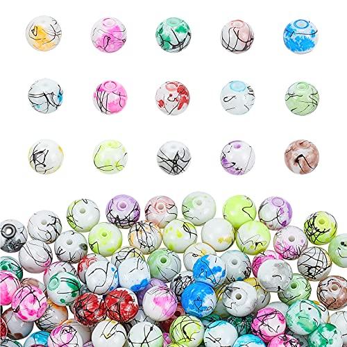 PandaHall Cuentas de cristal pintadas para hornear, 15 colores, 10 mm, 200 unidades, redondas, sueltas para collares, pulseras y hacer joyas