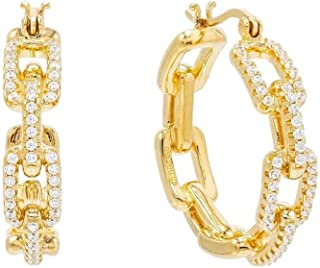 CHOICES Gold Cubic Zirconia Chain Hoop Earrings | Iced Out | Chain Hoops | Gold Earrings for Women