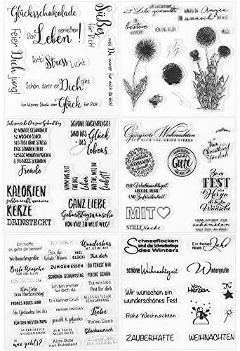 ESHOWEE Sellos de silicona con texto alemán, juego de 6 hojas, sellos de silicona, sellos transparentes para manualidades, bullet journal scrapbooking