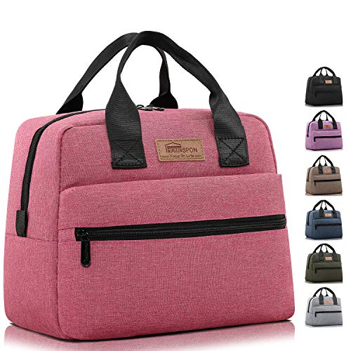 HOMESPON Insulated Lunch Bag Lunch Box Cooler Tote Box Cooler Bag Lunch Container for Women/Men/Work/Picnic,Large pink
