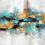 Arte abstracto Sala de estar Pintura al óleo Cartel y Mural Decoración del hogar Pintura Pintura abstracta azul 20x60cm