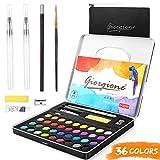 AGPTEK 36 Colores Kit de Pintura de Acuarela, Set de Acuarelas Profesional para Artistas Principiantes, Aficionados, Estudiantes y Niños