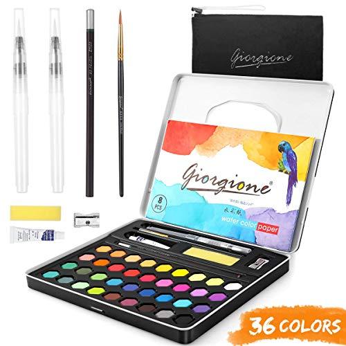 AGPTEK Aquarellfarben Set, Aquarellkasten mit 36 Wasserfarben, 1 Pinsel, 2 Wassertankpinsel, 8 Aquarellpapier 1 Bleistift, Wasser absorbierender Schwamm, 1 Weiße Aquarellfarbe zum Malen