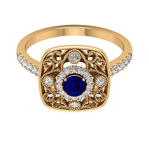 Piedra de nacimiento de septiembre — 4,00 mm solitario zafiro azul, anillo de diamante HI-SI, anillo art decó oro (calidad AAA), 14K Oro amarillo, Size:EU 68