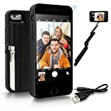 """StikBox Selfie Stick iPhone Case, Extendable Monopod W/ Built-in Bluetooth Trigger, Lightweight, Rechargeable, Wireless, Pocket Size, 360 degree rotation & 20"""" Extension for iPhone 7/7S/8 (IPE7BLACK)"""