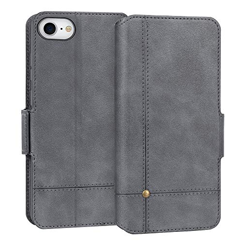 """FYY Case for iPhone SE 2020, iPhone 7/8 4.7"""", Ultra Slim PU Leather Wallet Case Protective Cover with Card Holders Kickstand Flip Case for iPhone SE 2020, iPhone 7/8 4.7"""" Grey"""
