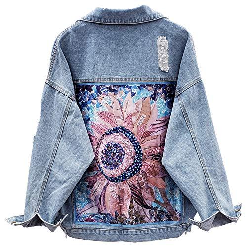 BoxJCNMU Jeans Cappotto Donna Primavera Giacca di Jeans Allentata Fiore Perline Foro Vestiti di Jeans Giacca di Jeans Blue M