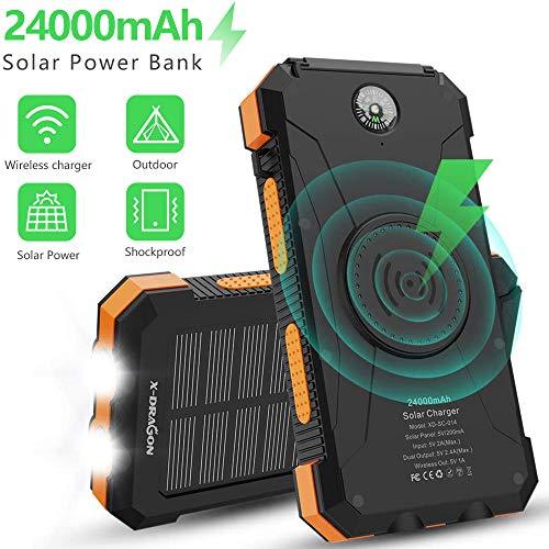 X-DRAGON Solar Powerbank 24000mAh Qi Drahtloses Tragbares Ladegerät Externer Akku mit Zwei Eingängen (USB C & Micro), Doppelter Taschenlampe für iPhone, iPad, Samsung, Handys, Camping