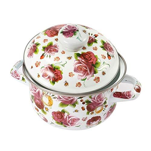 SCJ Pot à moules en émail de 18 cm, Pot de Soupe épaissi Domestique, Pot de ragoût, cuiseur à Induction à gaz, cuiseur à Usage général (capacité: 3 4L, Couleur: Violet)