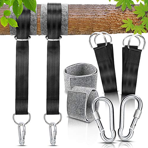 Gifort Outdoor Hammock Straps, 150cm long with extra thick D-shaped hook Tree Swing Hanging Straps, Holds Up to 550kg safety lock for Camping Backpacking Patio Hammocks and Swings