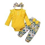 Conjunto de pantalón de ropa floral para recién nacidos Bodys acanalados de manga larga Trajes de niña con volantes sólidos Tops de mameluco + Pantalones de flores + Diadema Amarillo 80 6-12 meses