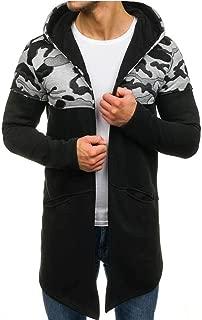 Men Cardigan Coat Beautyfine Camouflage Hooded Trench Long Sleeve Outwear Blouse