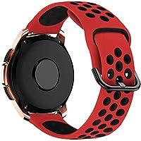 MroTech 20mm Correa Silicona Compatible para Samsung Galaxy Watch 42mm/Active/Active2 40mm 44mm/Gear Sport/S2 Classic Pulsera Repuesto para Huawei GT 2 42 mm/Ticwatch 2/E/C2 Banda de Reloj, Rojo/Negro