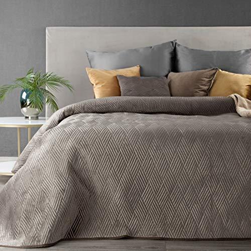 Eurofirany Weiche Tagesdecke Gesteppte Decke Ganzjährige Bettüberwurf Steppung Muster Samt Einfarbige Steppdecke Quilt (Ariel 1 Dunkelbeige, 230 X 260 cm)