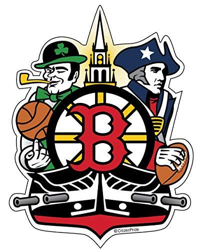 Boston Sports Fan Crest, Sticker Decal die Cut Vinyl, 4.2x5.5', Made in USA