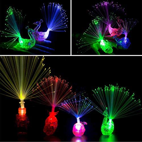 Herefun 20 Pezzi LED Luce da Dito Anello Creativo Colorato Pavone Pesci Rossi Dito Luci Bambini Anelli di Colore Luminoso Regalo Giocattoli Festival di Nozze Decorazioni per Feste Carnevale