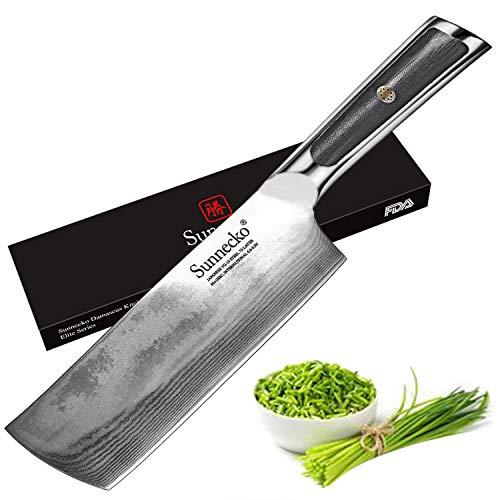 Sunnecko Kitchen Knife 7 Inch, Vegetable Cleaver Chinese Chef's Knife Nakiri...