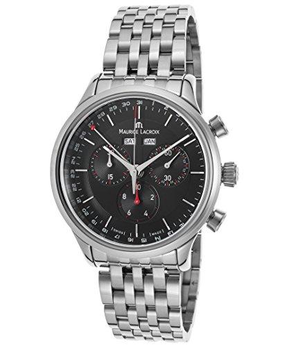 Maurice Lacroix Lc1228-Ss002-331 Herren-Armbanduhr Les Classiques Chronograph Ss schwarzes Zifferblatt Ss