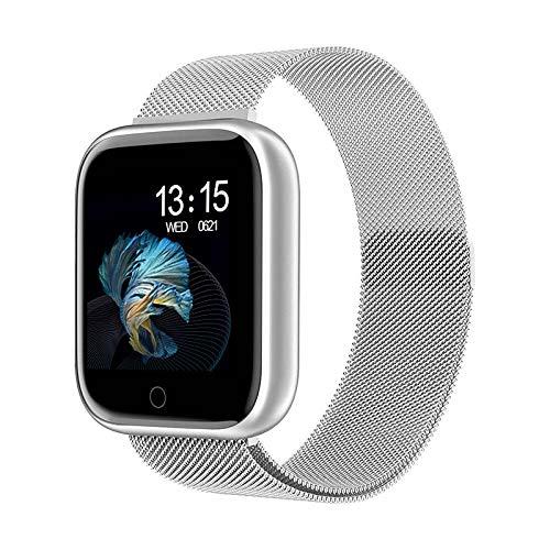 Pulsera Inteligente de Actividad,Reloj inteligente resistente al agua y al polvo, pulsera deportiva de control de la salud, cinturón de acero plateado,Podómetro Monitores de Actividad Impermeable
