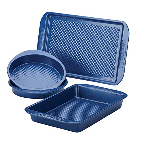 Farberware Colorvive Nonstick Cake Pans and Cookie Baking Sheet, 4 Piece, Blue