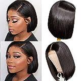 Short Bob Human Hair Wig 150% Density Straight Lace Front Wig Echthaar perücken für schwarze Frauen 4x4 Lace Closure Bob Wig Brazilian Virgin Hair Wig Pre Plucked Hairline Natural Color 8'(20.3cm)