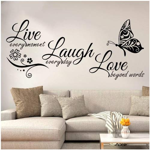 Live Laugh Love Butterfly Flower Wall Art Sticker Calcomanías De Pared Modernas Citas Vinilos Pegatinas De Pared Decoración Del Hogar Sala De Estar58x27cm