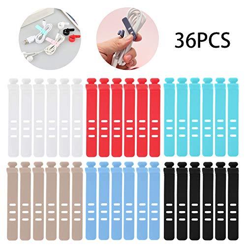 Organizador de cable/Bridas de Cable de Silicona/Correa de cable para auriculares reutilizable multicolor/6 colores/36 piezas