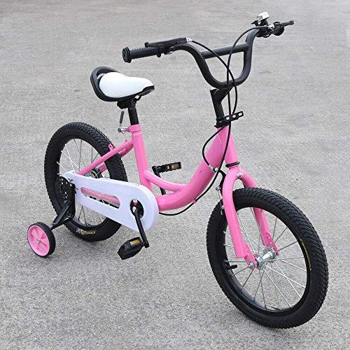 Bicicleta infantil de 16 pulgadas con ruedas de apoyo, aleación de acero al carbono, sistema de frenado doble, altura ajustable, para niños de 2 a 9 años (rosa)