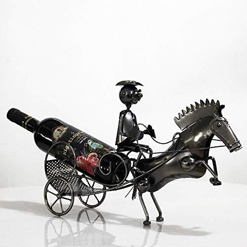 Estante De Vino De Hierro Forjado Estilo De Carro Tirado Por Caballos Decoración De La Sala De Estar Del Hogar Adornos De Soporte De Exhibición Botellero con forma de carro tirado por caballos