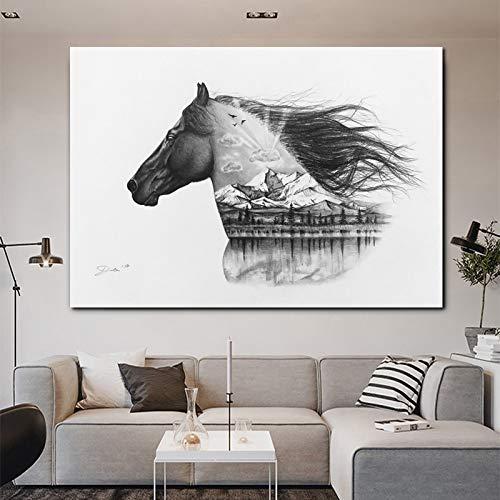 Geiqianjiumai Frameloze muurschildering van de zeildoek-woonkamer van het paardenlandschapsbeeld van de abstracte kunst in het moderne zwart-wit interieur