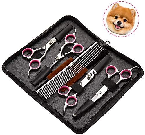 Tijeras de aseo para perros, juego de tijeras de aseo de mascotas de acero inoxidable 5 en 1 con punta redonda para el cuidado del cabello de perros y gatos