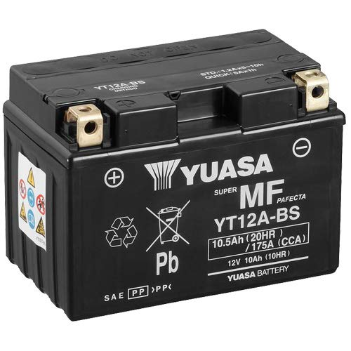 Batterie YUASA YT12A-BS (WC) AGM geschlossen, 12V|10Ah|CCA:175A (150x87x105mm) für Suzuki SFV650 Gladius Baujahr 2013