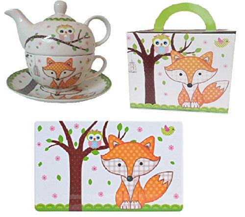 Trendstern® Trendprodukteshop Tea for One Eule und Fuchs Teekanne+Tasse+EXTRA ZUGABE Frühstücksbrettchen