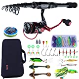 Sougayilang Fishing Rod and Reel Combos Carbon Fiber Telescopic Fishing Rod with Reel Combo Travel...