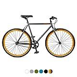Retrospec Harper Single-Speed Fixed Gear Urban Commuter Bike, 53cm, m, Matte Graphite & Orange