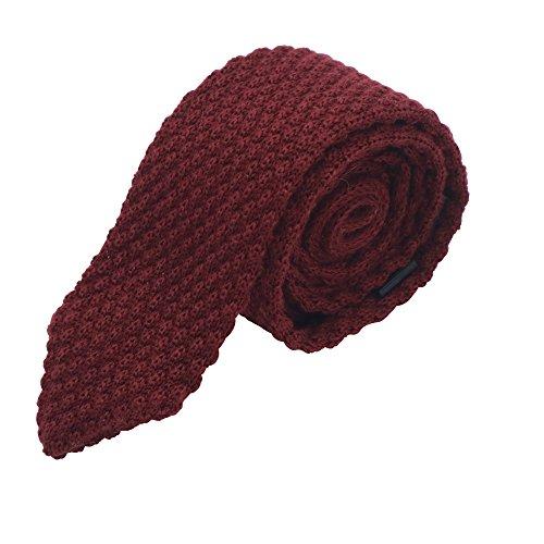 Massi Morino ® Strickkrawatte für Herren | handgenähte Anzug Krawatte (Tie Strick weinrot) weinrotekrawatte weinroteherrenkrawatte krawattedunkelrot dunkelrot dunkelrotestrickkrawatte
