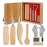 Juego de herramientas de talla de madera, 11 en 1, kit de tallado, herramientas de talla de madera, icuchillo de tallar, cuchillo de corte de virutas, guantes, afilador de cuchillos Kuksa carpintería