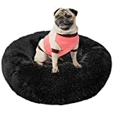 Paercute Warming Dog Bed,Comfortable Donut Cuddler Round Dog Bed or Cat Bed for Small Dog or cat (S-25'', Black)