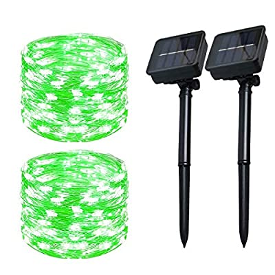 Solar Christmas String Lights Green Outdoor Waterproof 72ft 100 LED?2 Pack? 8 Modes Copper String Lights Fairy Lights for Garden, Patio, Fence, Balcony, Outdoors(Green 2pcs?