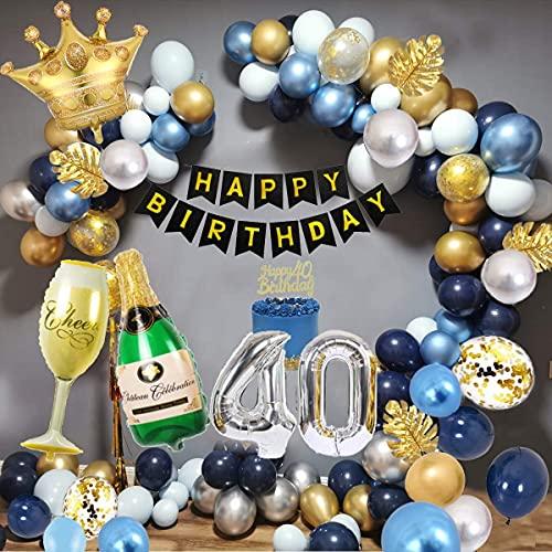 40 Anno Palloncini Compleanno Uomo, Decorazioni Feste Oro Blu con Palloncino Numero 40, Striscione Compleanno, Palloncini Lattice Argento Oro Blu Scuro per Decorazioni Feste Compleanno 40 Anno Uomo