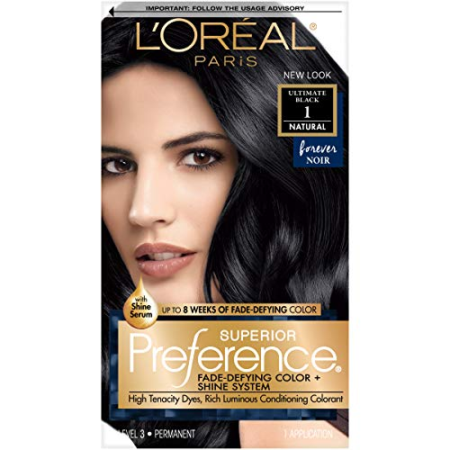 L'Oreal Paris Superior Preference Fade-Defying + Shine Permanent Hair Color, 1.0 Ultimate Black, Pack of 1, Hair Dye