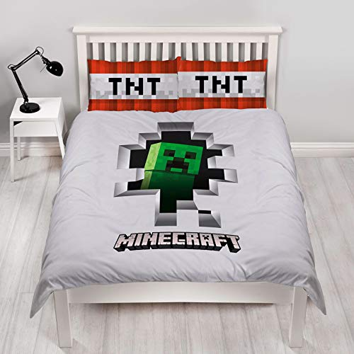 Minecraft Dynamite Double Duvet Cover | Officially Licensed Reversible Two Sided Creeper Design With Matching Pillowcase