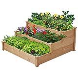 Yaheetech Hochbeet für Balkon und Garten Gartenbeet Pflanzenbeet 3-stufige Blumentreppe 120 x 120 x 56 cm