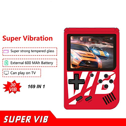 MJKJ Handheld Game Console , 3 Inch Screen 169 Classic Games (30 Vibration Games) , Portable Retro Video Game Console Can Play on TV , Birthday Gifts for Kids and Adult - Red