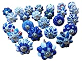 Ajuny Juego de 25 pomos de cerámica de color azul y blanco para puerta y armario,...
