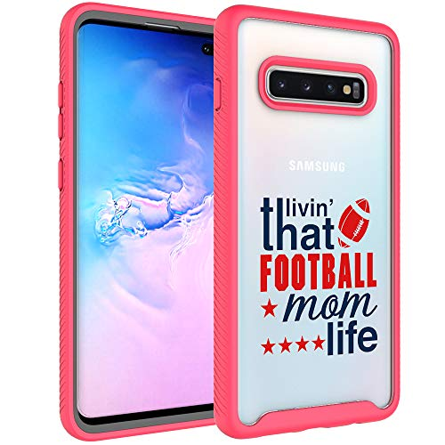Galaxy S10 Plus Case, S10 Plus Case for Mom - That Livin' Football Mom Life Design Dual Layer Armor Defender Shockproof Crystal Clear Back Case Soft TPU Rubber Bumper Cover for Samsung Galaxy S10 Plus