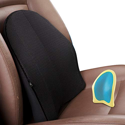 Z.L.FFLZ Supporto Cuscino Cuscino Sedile Bretelle Sedile Auto Cuscini ergonomici di Sostegno Lombare Gel deformazione a Lunga Durata Accessori Auto (Color : Black)