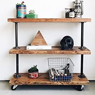 WGX Reclaimed Wood and Metal Bookcase 3-Shelves with Wheels