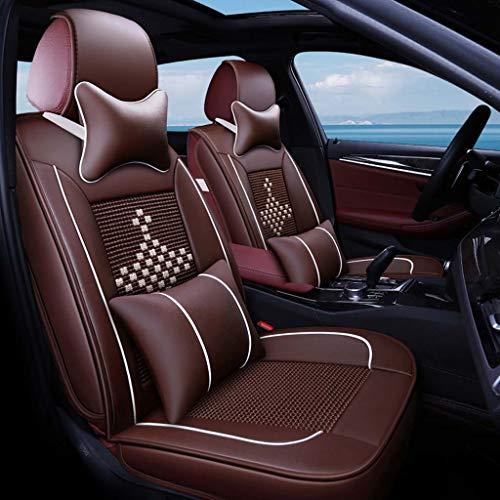 Autostoelhoezen, leder universeel voor en achter volledige set met kussens voor 5 zitplaatsen Voertuig Ice Silk Lucky Knot Seat Protectors BRON