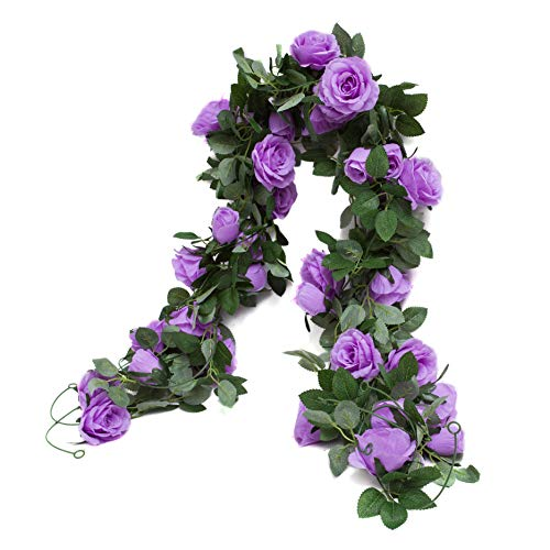 Huata 3PCS 6.56Ft Artificial Rose Flower Silk Vine Hanging Wedding Decor Garlands Home Outdoor Indoor Decor Flower (Purple)